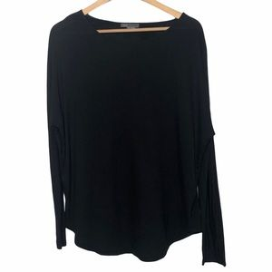 Vince Relaxed Mixed Material Silk Top Black Size S